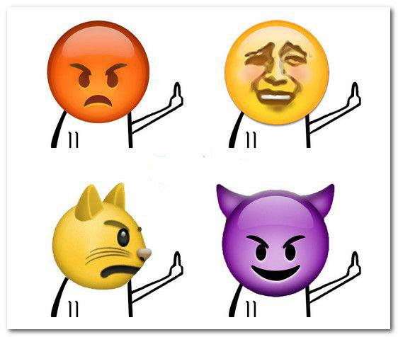 emojiqq表情包 |emoji恶搞竖中指qq表情包